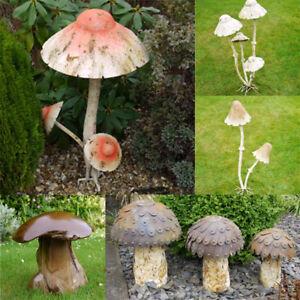 Mushroom Garden Ornaments Toadstool Distressed Finish Sculptures