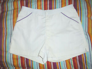vintage-80-s-Rodeo-Tennis-Shorts-oldschool-80er-sport-Sporthose-weiss-lila-L