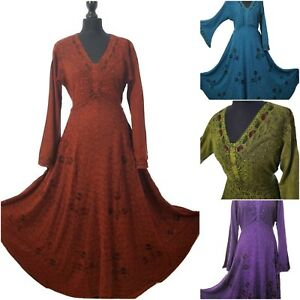 Boho-Pagan-Hippie-Medieval-Rayon-Gothic-Festival-Dress-Full-Flare-14-16-18-20-22