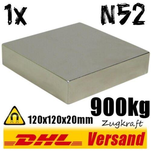Aimant Neodym extrêmement puissant 120x120x20mm 12x12x2cm 900kg N52 Permanent