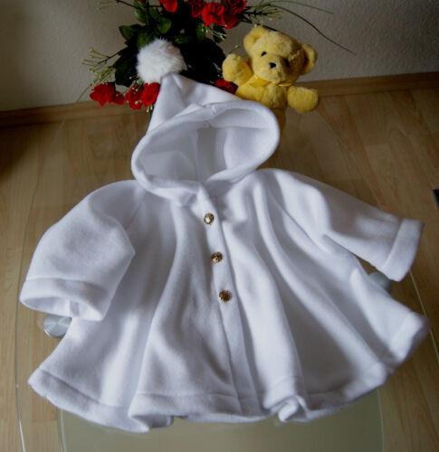 Taufe Mantel weiß oder creme aus Fleece mit echtem Fell Bommel Taufmantel