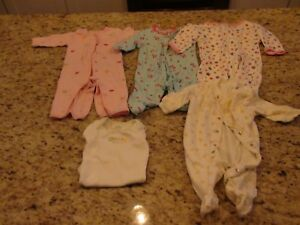 Sleepwear Obliging Carter's Baby Girls Pajamas Size 3m Guc Finely Processed