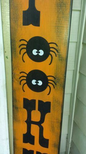 Rustic Halloween Wood Porch Sign Spooky Large Primitive Distressed Spider Web