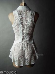 White-Sheer-Lace-Corset-Back-Romantic-Victorian-Steampunk-Top-14-mv-Blouse-S-M-L