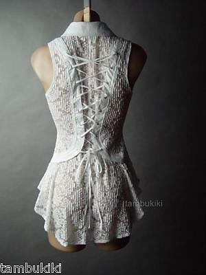 White Sheer Ornate Lace Corset Back Victorian Steampunk Top 14 mv Blouse S M L