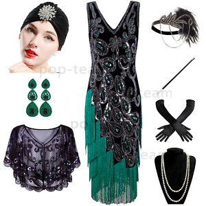 38dbd43de44 Image is loading Vintage-1920s-Flapper-Dress-Gatsby-Wedding-Party-Layered-