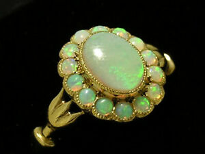 Genuine-9K-9ct-Gold-Natural-Opal-Oval-Cluster-Ring-Victorian-style-in-your-size