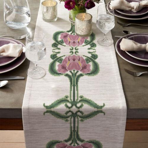 Art Nouveau Antique mauve Iris Flowers Embroidery Cross stitch PDF Pattern #123
