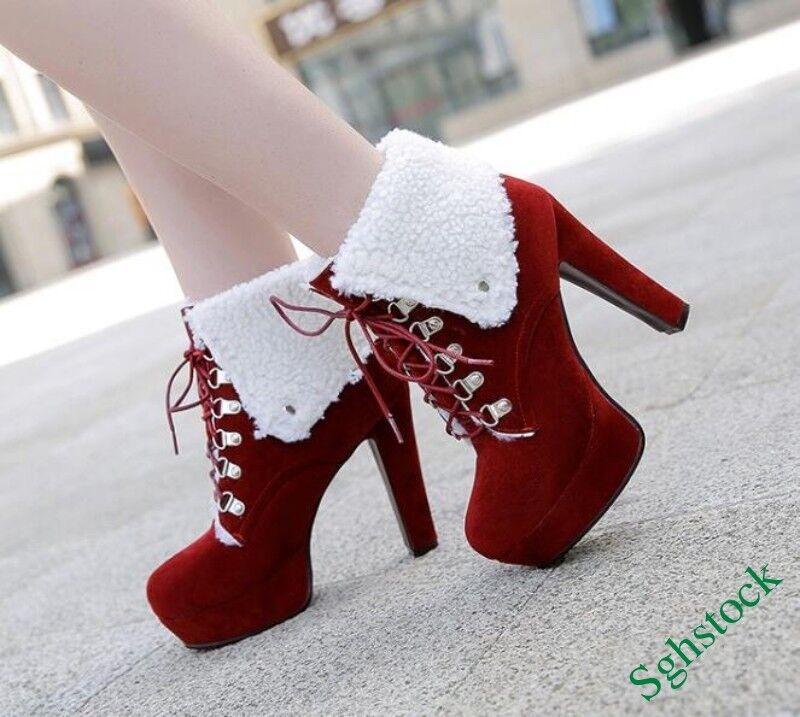 Women's Lace Up Ankle Boots Faux Suede Platform Fur Trim Winter Warm shoes SIZE