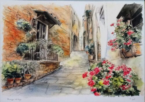 Haus Blumen Straße Reproproduktion Kunstwerke von zeitgenössischen Malern 70x90