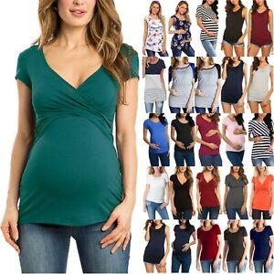 Womens-Summer-Pregnancy-T-Shirt-Blouse-Ladies-Maternity-Short-Sleeve-Tops-Tees