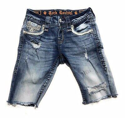Rock Revival Betty Bermuda Bling Mid Rise Jean Shorts Women's Size 24 | eBay