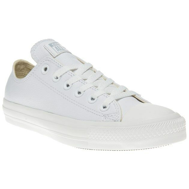 New Mens Converse White All Star Ox Leather Up Trainers Mono Lace Up Leather 2b4d44