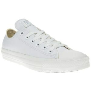 New Mens Converse White All Star Ox Leather Trainers Mono Lace Up  63c0b0244