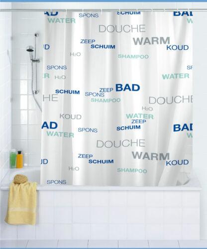 WENKO Duschvorhang WATER Blau Weiss 180x200 cm Polyester waschbar