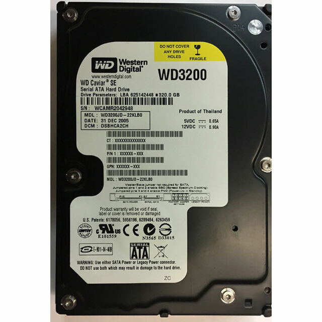 Western Digital 320GB, 7200RPM, SATA - WD3200JD