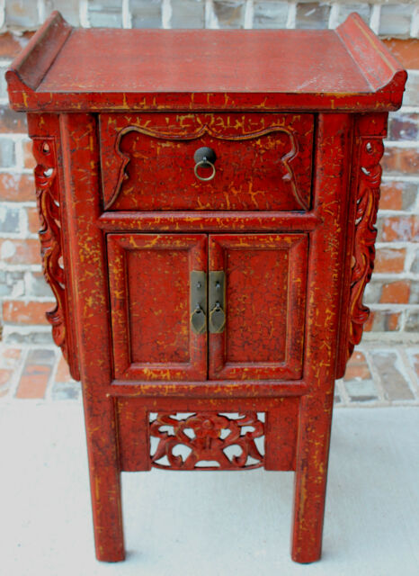 Antique French or English RED Chest End Table Nightstand Cabinet