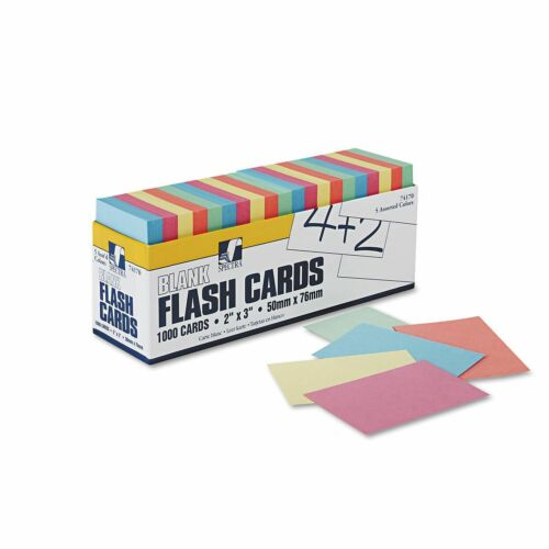 Pacon Blank Flash Card Dispenser Boxes 2w x 3h Assorted 1000//Pack New Item
