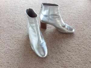 Office Silver Boots Size 4 Ebay
