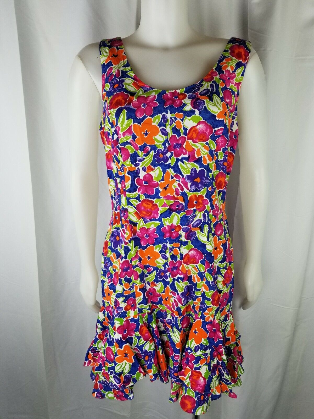Vintage 80s 90s Woman Arpeja USA foral dress 10 tiered pink bluee green orange