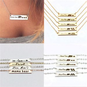 Fashion-Engraved-Mama-Bear-Bar-Pendant-Necklace-Mother-039-s-Day-Gift-New