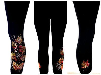 REGULAR /& PLUS SIZE LONG LEGGINGS Embellished Rhinestone /& Stud Autumn Leaves