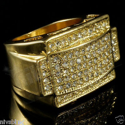 14k Gold Band Men's Micropave CZ AAA Crystal Hip Hop Bling Iced Out Pinky Ring