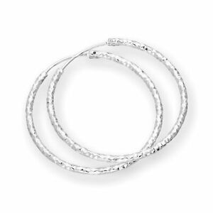Reale-925-Sterling-Silver-Diamond-Cut-Hoop-Orecchini-15mm-18-mm-25mm-28mm