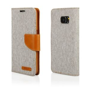 Samsung Schutzhülle Tasche Handyhülle Flipcase Wallet Stoff Edel Etui Hülle
