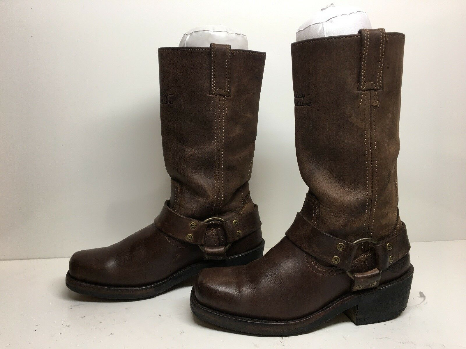 WOMENS HARLEY DAVIDSON SQUARE TOE HARNESS MOTORCYCLE LEATHER BROWN BOOTS SIZE 6