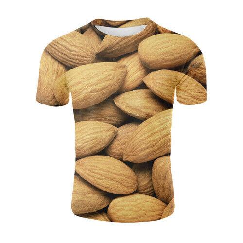 Hot Sale Women Men T-Shirt 3D Printed Dried Fruit Almonds Short Sleeve Tee Tops