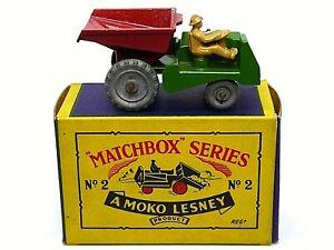 Matchbox-Lesney-No-2b-Muir-Hill-sitio-Volquete-en-tipo-B1-Serie-Caja-Metal-Wheels