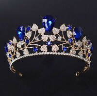 6cm High Adult Big Drip Crystal Leaf Tiara Crown Wedding Pageant Prom - 4 Colors