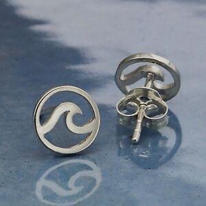 Sterling-Silver-925-Wave-Stud-Post-Earrings-Studs-Ocean-Beach-Lover-Surf-Gift