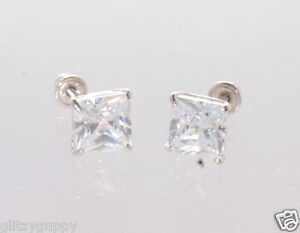 54c07c956 14k White Gold Stud Earrings Screwback Clear CZ Cubic Zirconia ...