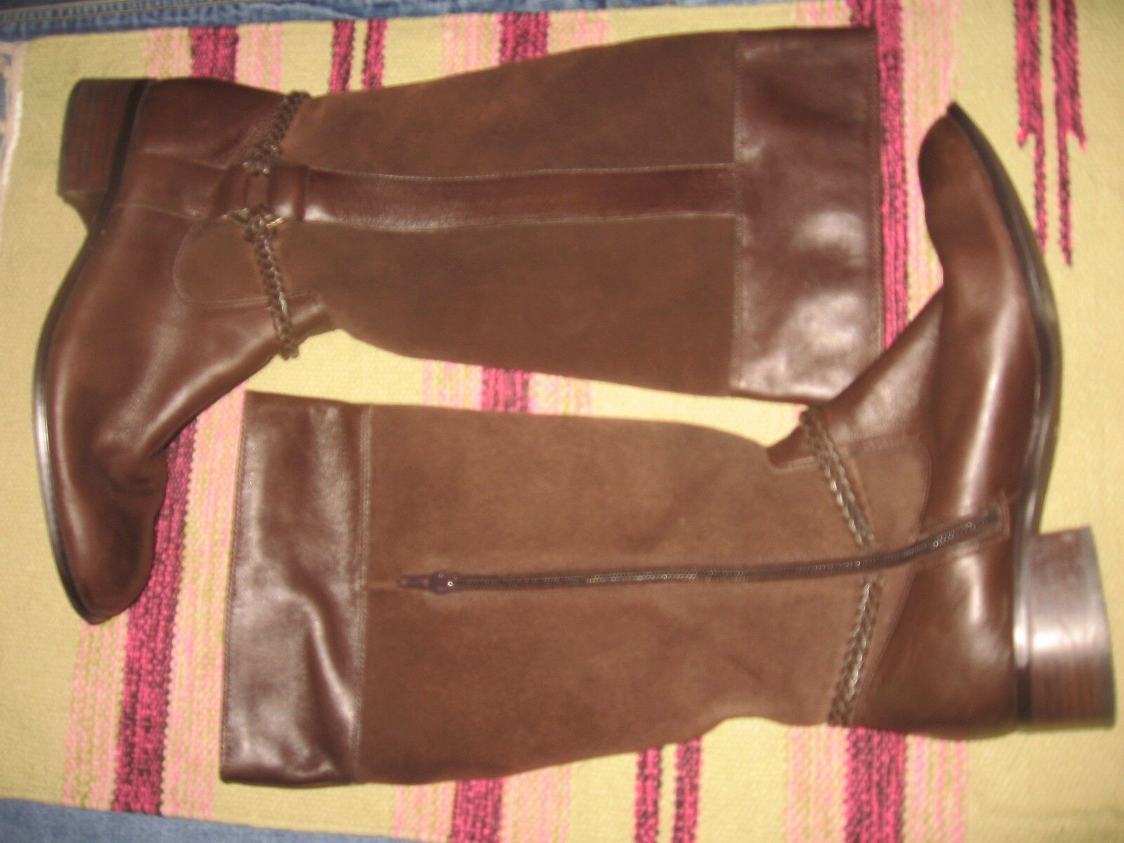 WOMENS 8.5 COLDWATER CREEK BROWN SUEDE LEATHER TALL RIDING HARNESS BOOTS