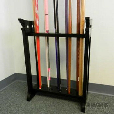 Black Wooden Jo 10 Bo Staff Display  - martial arts weapons wood floor rack
