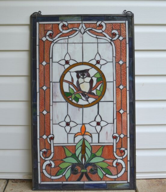 """Owl Large Tiffany Style stained glass window panel,  20"""" x 34"""""""