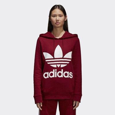 New Adidas Original Womens TREFOIL HOODIE COLLEGIATE BURGUNDY CE2409 XS M TAKSE   eBay