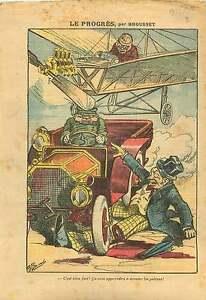"""Caricature Piéton Walker Car Voiture Avion Aircraft France 1911 ILLUSTRATION - France - Commentaires du vendeur : """"OCCASION"""" - France"""