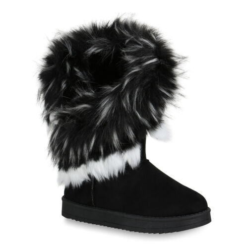 Damen Schlupfstiefel Kunstfell Warm Gefütterte Stiefel Winter 819888 Trendy