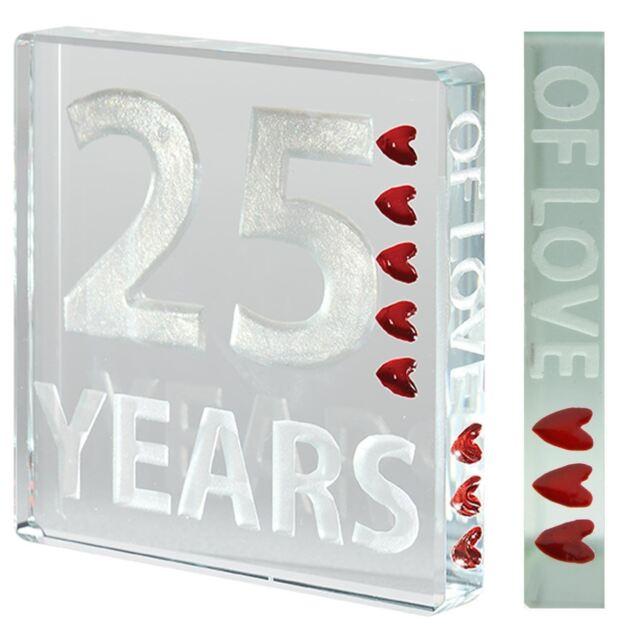 Spaceform Glass Mini 25 YEARS Minature Token Silver Wedding Anniversary Gift