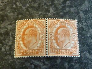 CAPE-OF-GOOD-HOPE-POSTAGE-STAMPS-SG78-5-PAIR-BROWN-ORANGE-LIGHTLY-MOUNTED-MINT