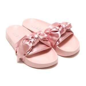 new products 9e83e 151d1 Details about FENTY Puma x Rihanna, 7.5, Pink Satin Bow Slides **NWB**