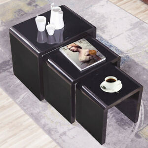 Details About Nest Of 3 Coffee Table Side End Tables High Gloss Black Living Room Furniture Uk