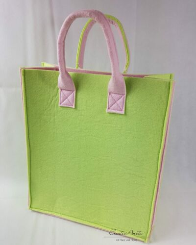 37x32x15 cm Filztasche Shopper Tasche Einkaufstasche Filz MAIGRÜN-ROSA ca