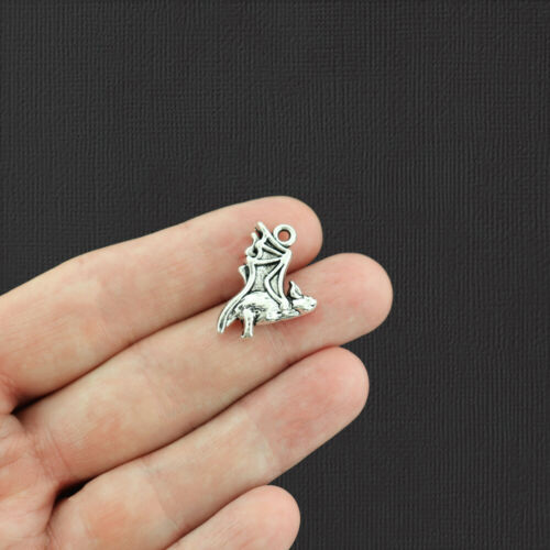 4 Bat Antique Silver Tone Charms 2 Sided SC2221