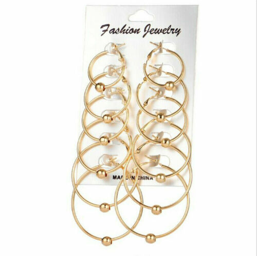 9Pairs//Set Vintage Silver Gold Big Circle Hoop Earrings Women Steampunk Ear Clip