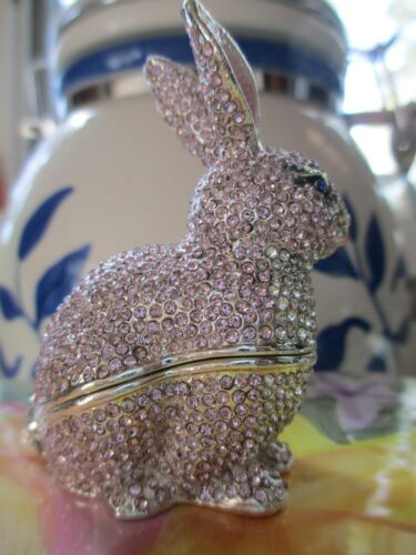 RABBIT PINK  ENAMELED ~  ENAMEL /& JEWELED TRINKET BOX #  3699