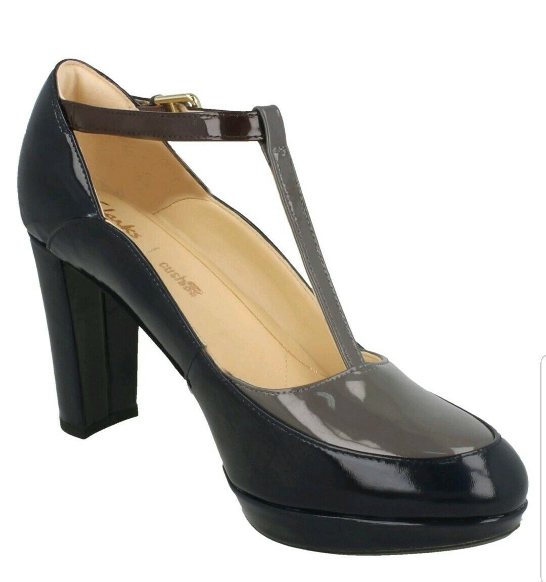 Clarks Ladies Kendra Daisy Navy Combi Patent Leather T T T Bar Heeled shoes UK 7 D a1d492